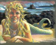 The girl who turned into a mermaid.