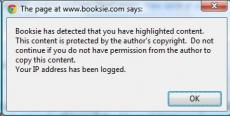 Booksie Testing New Copyright Protection - Warning and IP Logging