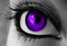 The girl with fake purple eyes