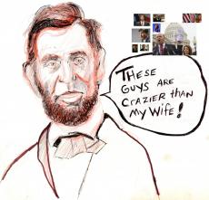 Honest  Abe's Ghost is haunted by the Tea-party