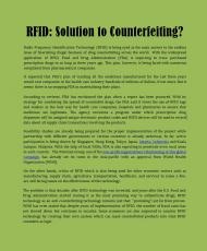 RFID: Solution to Counterfeiting?