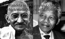 A  Mandela in the temple of Gandhi, which made Nelson to Mahatma..