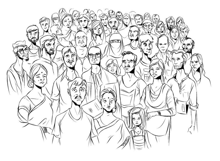 Картинки как нарисовать толпу