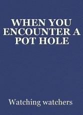 WHEN YOU ENCOUNTER A POT HOLE