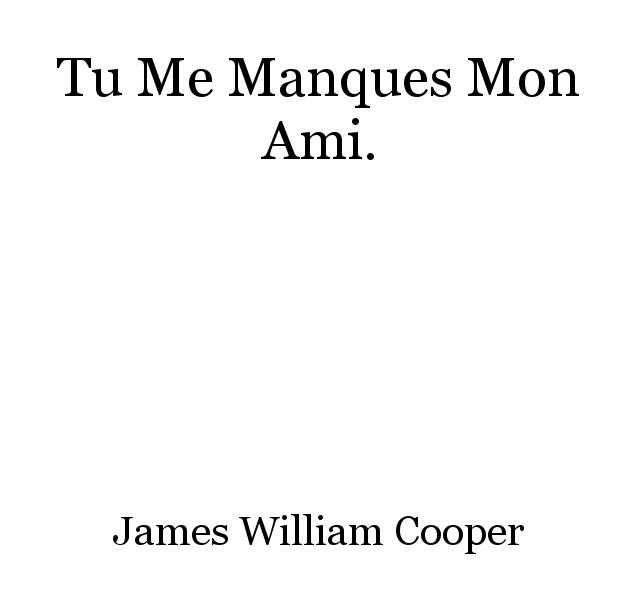 Tu Me Manques Mon Ami Poem By James William Cooper