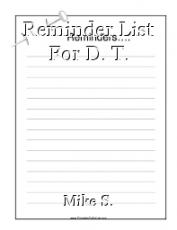 Reminder List For D. T.