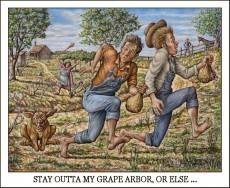 STAY OUTTA MY GRAPE ARBOR, OR ELSE ...