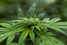 Starting 2020 Nevada employers can no longer refuse to hire someone who has failed a marijuana test.