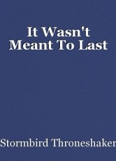 It Wasn't Meant To Last