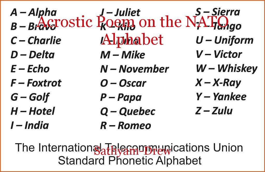 Acrostic Poem On The Nato Alphabet Poem By Sathyam Drew