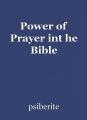 Power of Prayer int he Bible