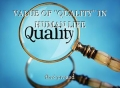 """VALUE OF """"QUALITY"""" IN HUMAN LIFE"""