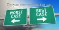 The worst case versus the best case.