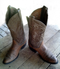 a pair of old cowboy boots