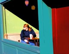 woman in starbuck's window