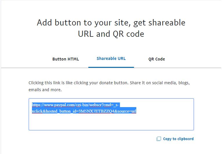 paypal copy shareable url screenshot
