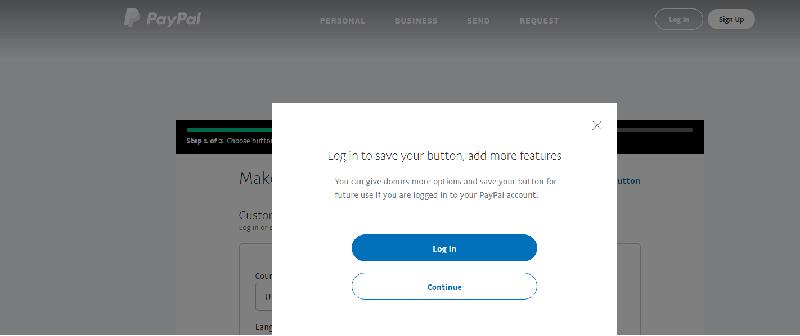 paypal login screenshot
