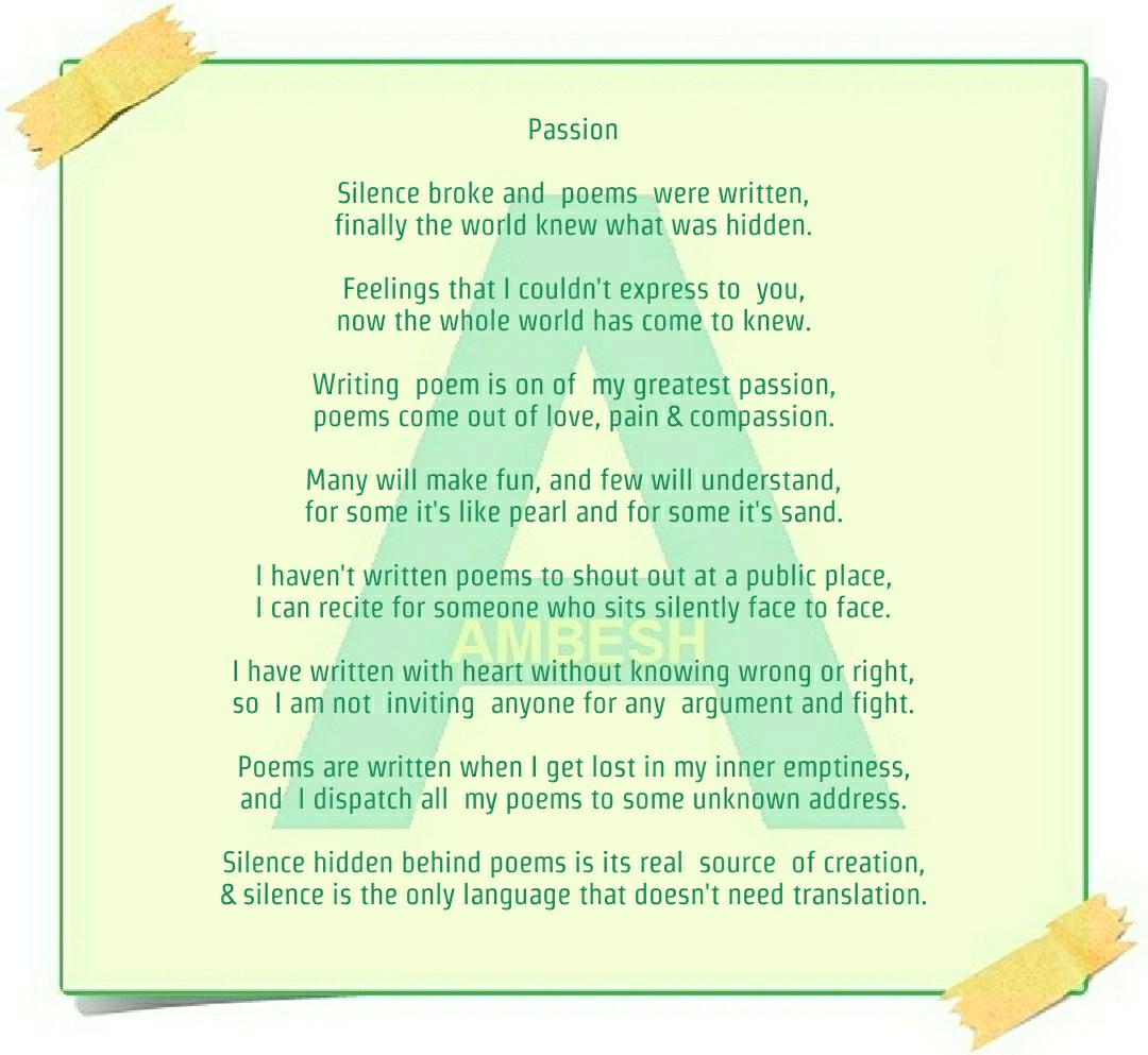 Passion Poem By Ambesh Poetry