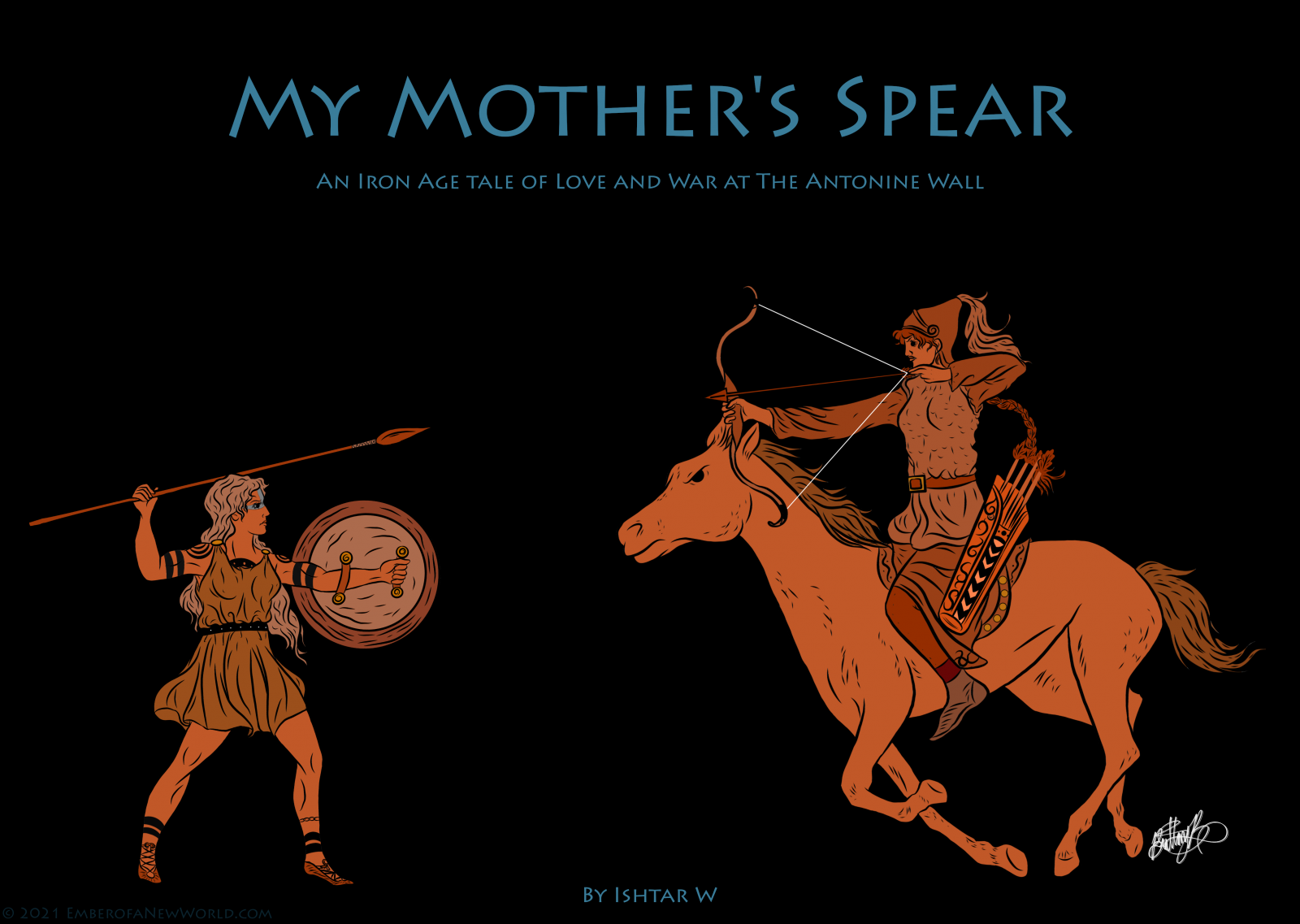 A Pictish warrior woman with a spear and shield faces off against a mounted, heavily armed, and armored Sarmatian woman with a bow.